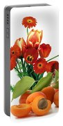 Apricots And Red Roses Portable Battery Charger