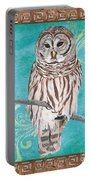 Aqua Barred Owl Portable Battery Charger