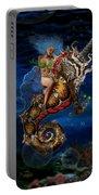 Aquatic Goddess On Unicorn Seahorse Portable Battery Charger