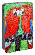 Ara Love A Moment Of Tenderness Between Two Scarlet Macaw Parrots Portable Battery Charger