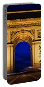 Arc De Triomphe At Night Paris France Portable Battery Charger
