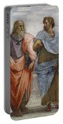 Aristotle And Plato Detail Of School Of Athens Portable Battery Charger