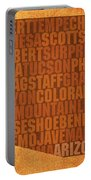 Arizona Word Art State Map On Canvas Portable Battery Charger