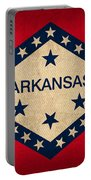 Arkansas State Flag Art On Worn Canvas Portable Battery Charger by Design Turnpike