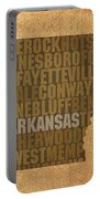Arkansas Word Art State Map On Canvas Portable Battery Charger