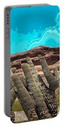 Art No 1901 American Landscape Cactus Stone Mountains And Skyview By Navinjoshi Artist Toronto Canad Portable Battery Charger