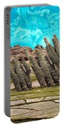 Art No.1900 American Landscape Cactus Stone Mountains And Skyview By Navinjoshi Artist Toronto Canad Portable Battery Charger