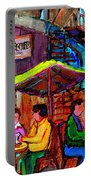 Art Of Montreal Enjoying A Pint At Ye Olde Orchard Irish Pub And Grill Monkland Village Cafe Scenes Portable Battery Charger