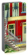 Art Of Montreal Upstairs Porch With Summer Chair Red Triplex In Verdun City Scene C Spandau Portable Battery Charger