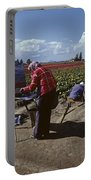 Artists Painting Tulip Fields Standing In A Row  Portable Battery Charger