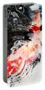 Asian Koi Fish - Black White And Red Portable Battery Charger