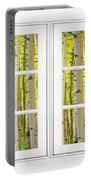 Aspen Forest White Picture Window Frame View Portable Battery Charger