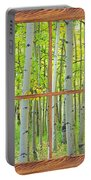 Aspen Tree Forest Autumn Picture Window Frame View  Portable Battery Charger