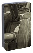 At The Helm Black And White Sepia Portable Battery Charger