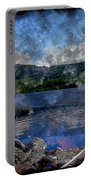 At The Lake - Fishing - Steel Engraving Portable Battery Charger
