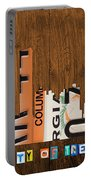 Atlanta Georgia City Skyline Vintage License Plate Art On Wood Portable Battery Charger by Design Turnpike