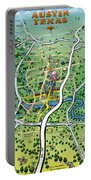 Austin Tx Cartoon Map Portable Battery Charger
