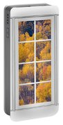 Autumn Aspen Trees White Picture Window View Portable Battery Charger