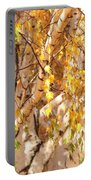Autumn Birch Leaves Portable Battery Charger