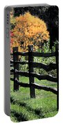 Autumn Fence And Shadows Portable Battery Charger