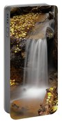 Autumn Gold And Waterfall Portable Battery Charger by Leland D Howard