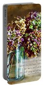 Autumn Hydrangeas Photoart With Verse Portable Battery Charger