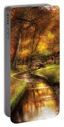 Autumn - Landscape - By A Little Bridge  Portable Battery Charger by Mike Savad