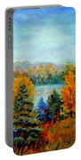 Autumn Landscape Quebec Red Maples And Blue Spruce Trees Portable Battery Charger