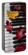 Autumn Leaves On Piano Portable Battery Charger