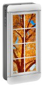 Autumn Maple Tree View Through A White Picture Window Frame Portable Battery Charger