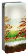 Autumn On The Ema River Estonia Portable Battery Charger