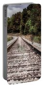 Autumn On The Railroad Tracks Portable Battery Charger