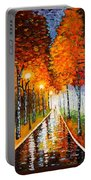 Autumn Park Night Lights Palette Knife Portable Battery Charger by Georgeta  Blanaru