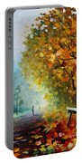 Autumn Park - Palette Knife Oil Painting On Canvas By Leonid Afremov Portable Battery Charger