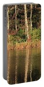 Autumn Pond Sunset With Swan Portable Battery Charger