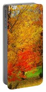Autumn Trees By Barn Portable Battery Charger