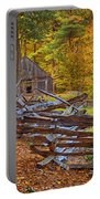 Autumn Wooden Fence Portable Battery Charger