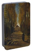 Avenue Of Poplars In Autumn Portable Battery Charger