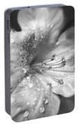 Azalea Flower With Raindrops Monochrome Portable Battery Charger