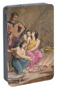 Aztec Women Making Maize Bread, Mexico Portable Battery Charger