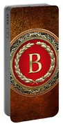 B - Gold Vintage Monogram On Brown Leather Portable Battery Charger