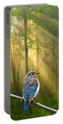 Baby Blue In Morning Fog Sunlight Portable Battery Charger