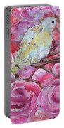 Baby Dove Of Peace Pink Flowers Portable Battery Charger