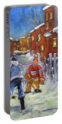 Back Lane Hockey Shoot Out By Prankearts Portable Battery Charger