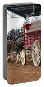 Back View Anheuser Busch Clydesdales Pulling A Beer Wagon Usa Portable Battery Charger