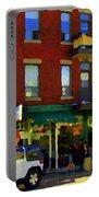 Bagels And Tea St Viateur Bakery And Davids Tea Room Montreal City Scenes Art Carole Spandau Portable Battery Charger
