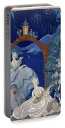 Ball Under The Blue Moon Portable Battery Charger by Georges Barbier