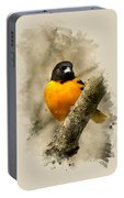 Baltimore Oriole Watercolor Art Portable Battery Charger