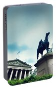 Bank Of England The Royal Exchange And The Wellington Statue Londonuk Portable Battery Charger