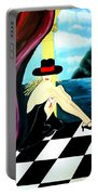 Bar Scene Lady With Hat By The Water Portable Battery Charger